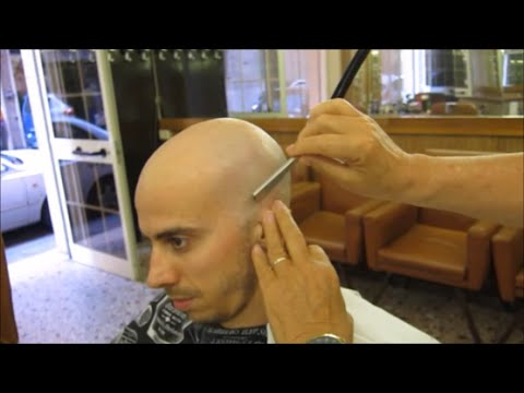 Complete head shave in a silent barbershop : ASMR experience