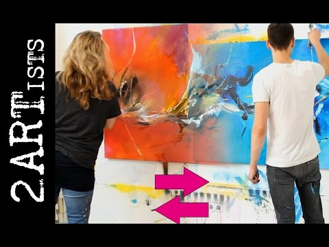 2 ARTists - Abstract acrylic painting demo by zAcheR-fineT & mARTin Spiegel