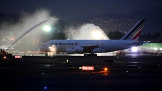 Air France Airbus A380 in Mexico  MEX/MMMX F-HPJH Water Canon Salute