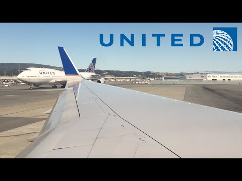 United Airlines 757-300 pushback, taxi, takeoff at San Francisco (SFO)