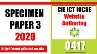 ICT IGCSE Paper 3 Website Authoring Specimen 2020 Microsoft Expression Web 4