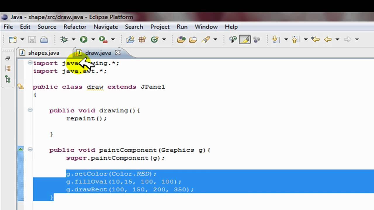 Drawing Lines In Java Swing : Java swing tutorial make shapes gui help drawing