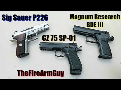 Sig P226 vs CZ SP-01 vs MR Baby Desert Eagle III (Range Comparison) - TheFireArmGuy