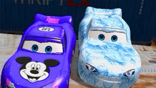 Mickey Mouse and Frozen Elsa at Airport Disney Cars Colors Lightning McQueen HD