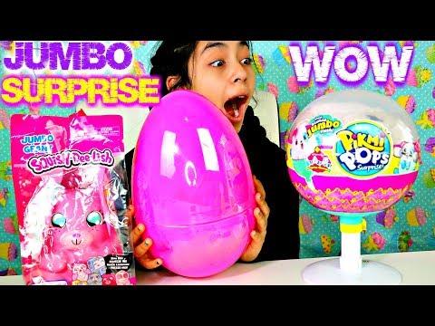 3 Giant Surprises Jumbo Pikmi Pops Surprise Giant Squish Dee Lish Surprise Egg!!! B2cutecupcakes