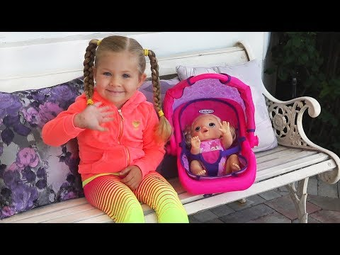 Diana and Baby Doll play on the Outdoor Playground for kids, Funny Baby Alive videos