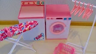 Toy Washing Machine Barbie Doll Laundry Center + Baby Doll Laundry Set unboxing Play