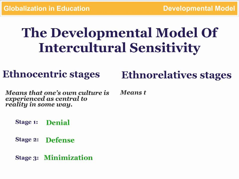 a developmental model of intercultural sensitivity The developmental model ofintercultura1 sensitivity (dmis) was created by dr milton bennett as a framework to explain the experience of people he observed over the course of months and sometimes years in intercultural workshops, classes, exchanges, and graduate programs.