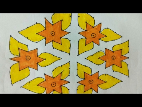 Rangoli 14 dots 2 lines up to 7 middle dots new star design - YouTube