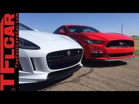 2015 Mustang GT vs 2016 Jaguar F-Type R Performance Mashup Review & Drag Race