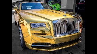 How To Wrap A Rolls Royce Dawn In Gold Chrome Vinyl
