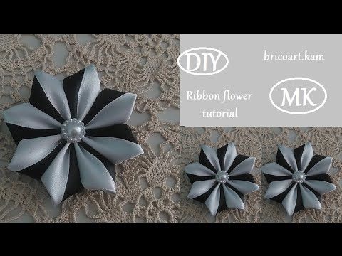 DIY/How to/Kanzashi/Ribbon flower tutorial//Flor de cinta/MK/канзаши: bricoart.kam