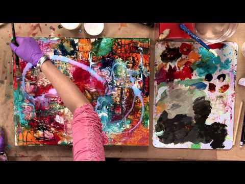 media abstract acrylic painting demo