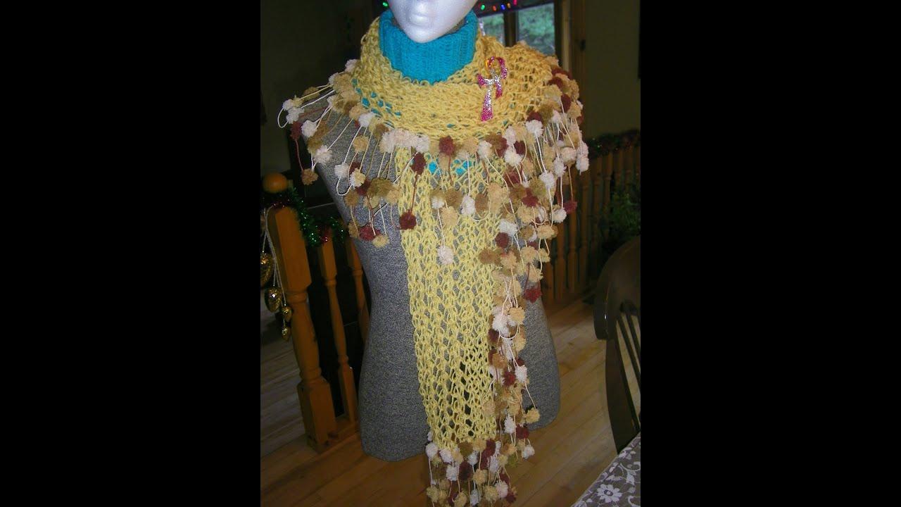 Crochet Scarf Pattern Using Pom Pom Yarn : How to Knitt a Scarf with pom pom yarn - YouTube