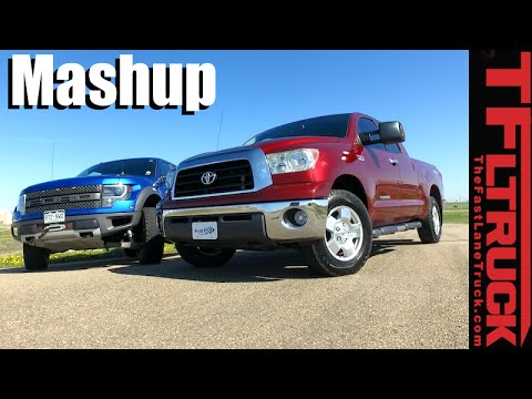 Supercharged Toyota Tundra vs Ford Raptor Drag Race. 0-60 MPH & MPG Mashup Review