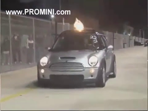 Mini Cooper (Part 1/2) With Helicopter Turbine Jet Engine Smokes