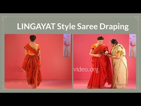 How To Wear A Cotton Saree In Lingayat Style, India video