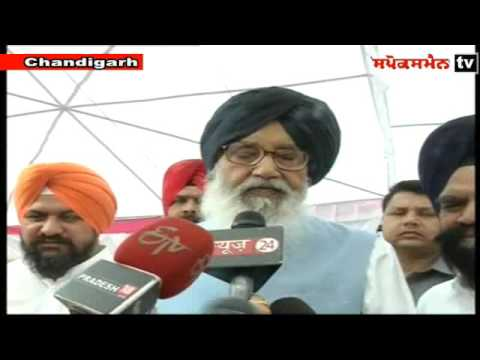 Punjab chief minister Parkash Singh Badal Interacting with the media persons