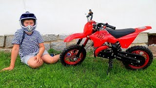 Funny Baby Unboxing, Assembling and Ride on New Dirt Cross Bike mini Test Drive
