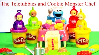 Stop Motion Claymation Play Doh Teletubby Toaster with The Teletubbies and Cookie Monster Chef
