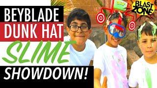 Dunk Hat Challenge - Beyblade Dunk Hat Slime Showdown! Beyblade Burst & Dunk Hat Game!