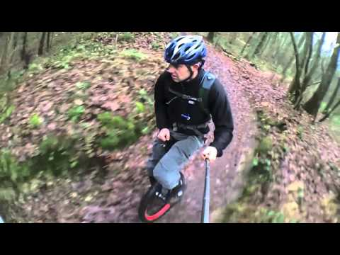 mountain unicycling - Jump+Drop+Downhill=Muni fun