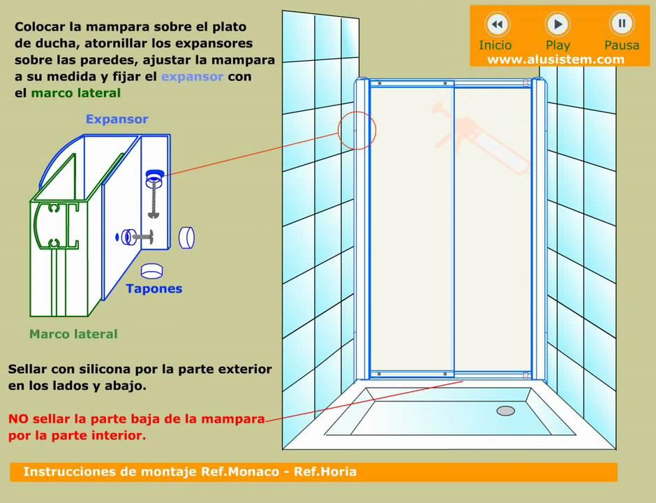 Mamparas de ducha de una puerta corredera youtube - Puertas para duchas ...