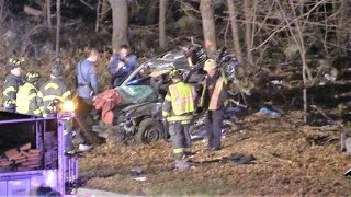Paterson NJ Serious Accident with Heavy Entrapment Car off the Highway into a Tree Rt 80 West