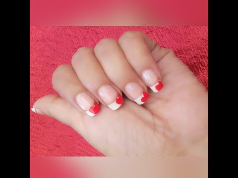 red heart nailart design without any tool || french tip nailart || fashion ornate