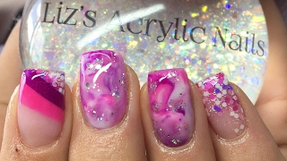 Acrylic Nails | Pink And Purple Marble