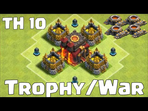 Clash Of Clans Townhall 10 Trophy War Base Layout   29 Defensive Wins!