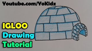 How to draw an Igloo Step by step and easy for kids