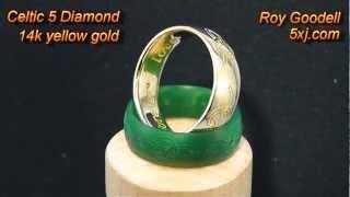 Celtic 5 Diamond 14k Yellow Gold Ring