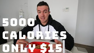 5000 CALORIES ONLY $15 BULKING ON A BUDGET FULL DAY OF FOOD IN A PANDEMIC