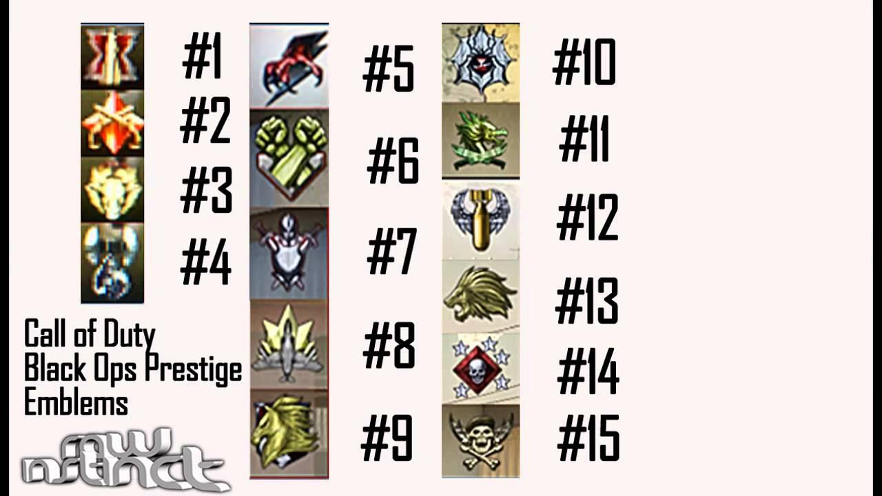 Prestige Emblems Black Ops 1 Ops 1-15 Prestige All