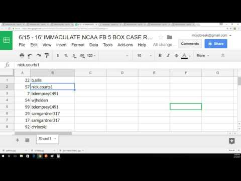6/15 - Random Draw Results - 2016 Immaculate Collegiate NFL 5 Box Case Break Number #11