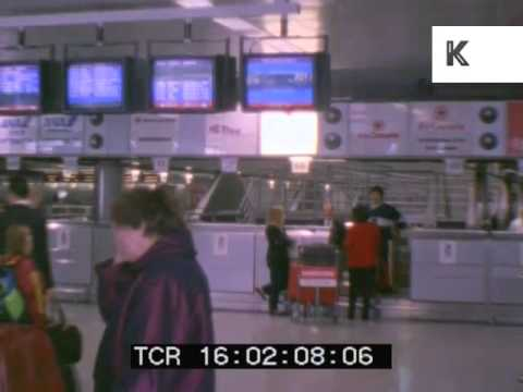 Late 1980s, Early 1990s Heathrow Airport, Passengers, Travel, Archive Footage