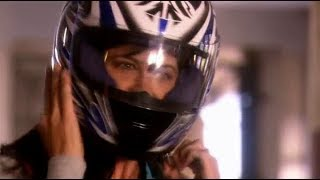 Actress Catherine Bell in Motorcycle Gear