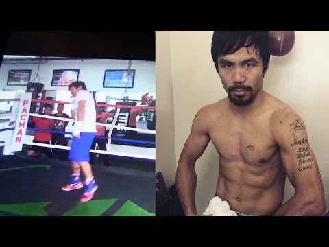 MANNY PACQUIAO MOCKS FLOYD MAYWEATHER SHOULDER ROLL--ALREADY TRAINING FOR FIGHT, LOOKS SMALL