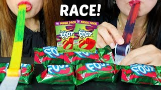 GUMMY RACE (FRUIT BY THE FOOT) MUKBANG CHALLENGE | Kim&Liz Too