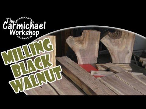 Milling Black Walnut Logs - DIY Bandsaw Sawmill Project