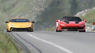 Ferrari J50 vs Lamborghini Huracan Performante at Highlands