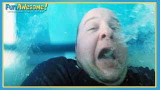 DAD FREAKS OUT ON WATER SLIDE