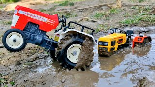 HMT Tractor Stuck in the mud and pulling out Swaraj, Double E, Excavator