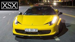 Siêu Xe Ferrari 458 Italia độ Novitec, mâm Vossen dạo phố, vượt hầm Thủ Thiêm | XSX