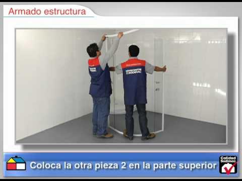 Cabina c recep curva 5 mm youtube for Herrajes para mamparas