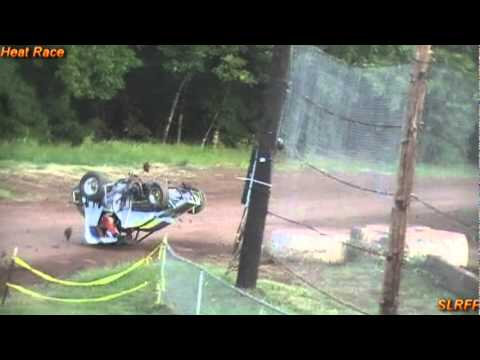 Cottage Grove Speedway, OR 7-30-11 WMRA midget racer Reno Marr climbed a wheel and went for wild ride. He was ok but sore after the crash.