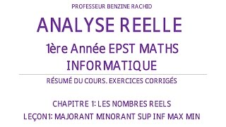 EXERCICES ANALYSE 1ERE ANNEE CHAP1 LECON1