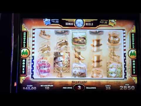 Super Monopoly Money Slot Machine Bonus and wheel spin