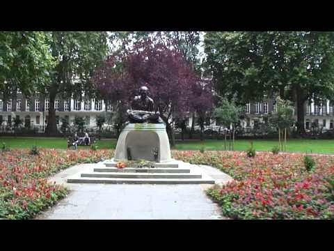 Mahatma Gandhi's statue in Tavistock Square Garden London (U.K.) 31st August 2011